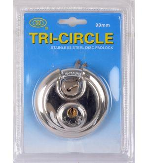 Candado Redondo Acero-Inox 90Mm Tri-Circle