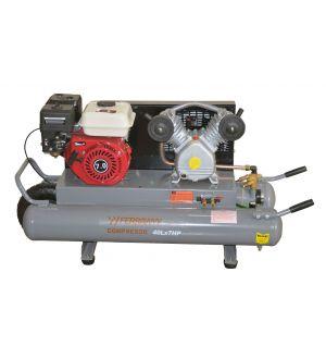 COMPRESOR 40Lx7HP CON MOTOR GASOLINA Y 2 TANQUES