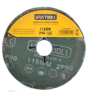 Disco Lija Fibra P/Metal 5Un/Set 115Mm #60 Uyu
