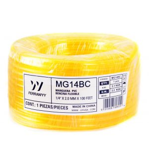 Manguera Pvc Bencina Flexible 1/4 Pulg.  X 2.0Mm X 100Feet