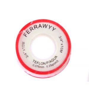 Teflon P/Agua 3/4 Pulg. X10Mx0.25G/Cm3 Fwyy